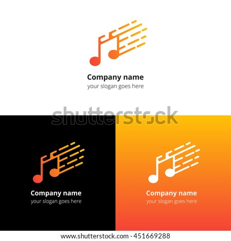 Music note and fast motion beat flat logo icon vector template. Abstract symbol and button with yellow-orange gradient for music service or company. - stock vector