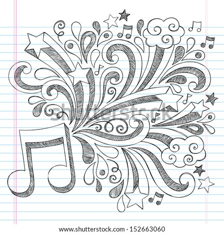 Music Note Back to School Sketchy Notebook Doodles with Music Notes and Swirls- Hand-Drawn Illustration Design Elements on Lined Sketchbook Paper Background - stock vector