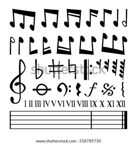 Music note black silhouette vector icons collection. Music notes black vector. Music notes silhouette. Music vector notes set. Music sign, music notes vector symbols - stock vector