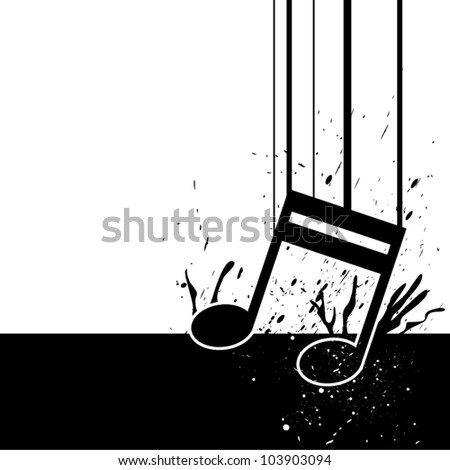 music note fall down - stock vector