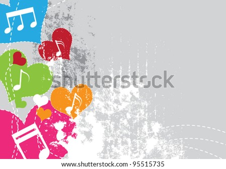 music note heart, vector grunge background - stock vector