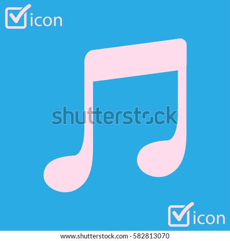Music Note Icon Character Listening Song Stock Vector 582813070
