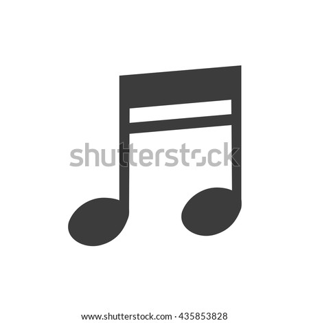 Music note icon. Music note Vector isolated on white background. Flat vector illustration in black. EPS 10 - stock vector