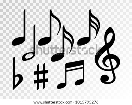 music note icons vector set black stock vector royalty free rh shutterstock com Music Note Illustration Music Note Outline