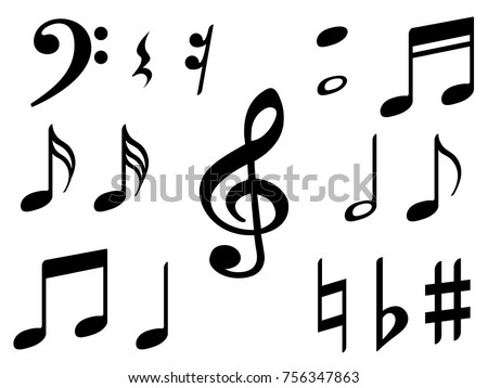 Music Note Icons Vector Set Black Stock Vector Hd Royalty Free