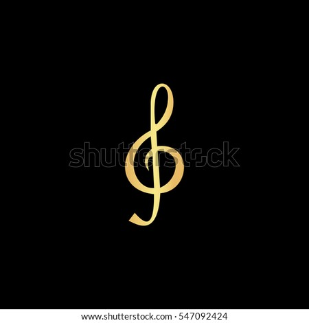 Music note Sheet key. Gold symbol icon on black background