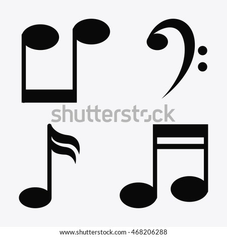 music note sound media festival icon. Flat Black and White illustration. Vector graphic