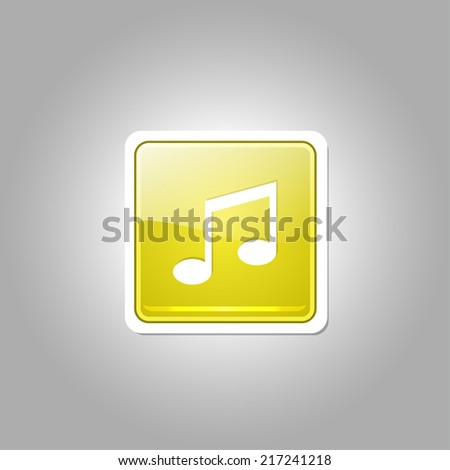 Music Note Square Vector Yellow Web Icon Button