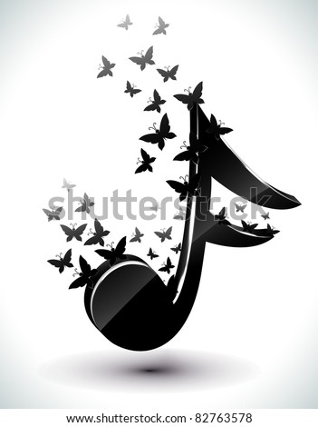 Music Note with floral butterfly. Vector. - stock vector