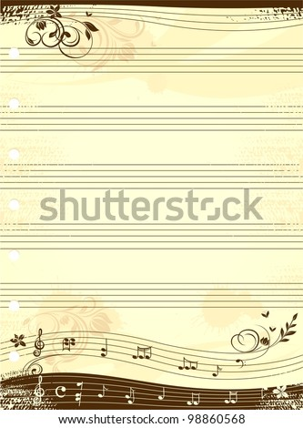 Music notebook template - stock vector