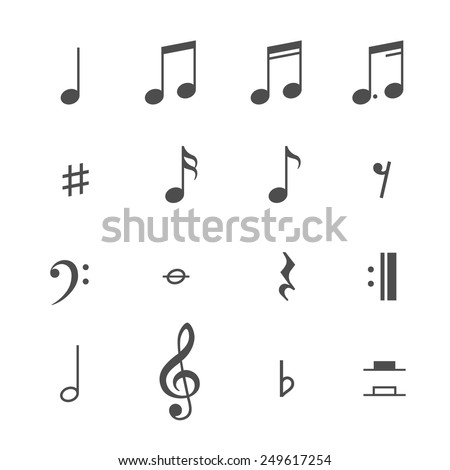 Music notes and icons set. Vector illustration - stock vector