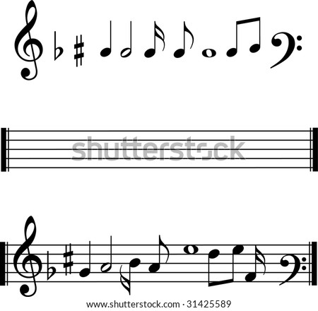 Music notes and lines - stock vector