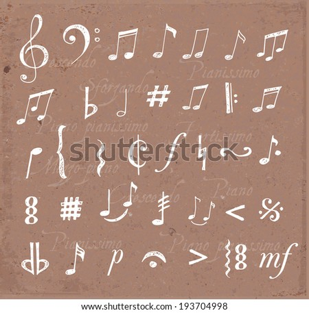Music notes and signs hand-drawn in sketchy style. Vector illustration - stock vector