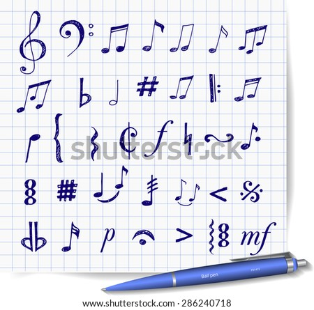 Music notes and signs hand-drawn with pen in sketchy style. Vector illustration. - stock vector
