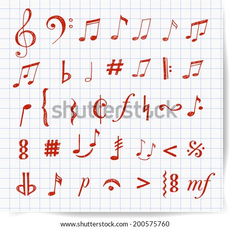 Music notes and signs hand-drawn with red pen in sketchy style. Vector illustration.  - stock vector