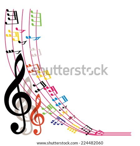 Music notes background, stylish musical theme composition, vector illustration. - stock vector