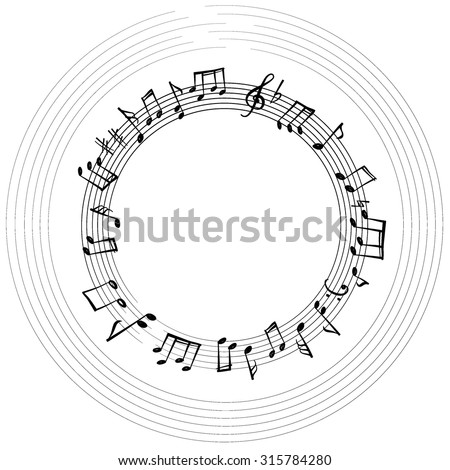 Music notes border. Musical background. Music style round shape frame with copy space for text. Treble clef and notes wallpaper. - stock vector