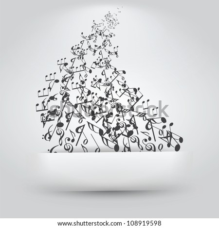 Music Notes Coming Up Out of Paper Slit - stock vector