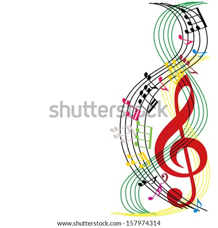 Music notes composition, musical theme background, vector illustration. - stock vector