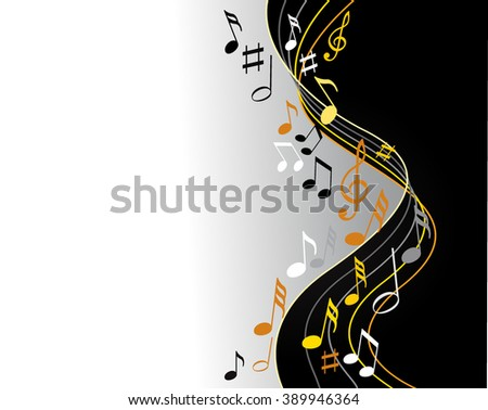 Music notes gold on a black background - stock vector