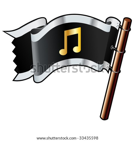 Music notes icon on black, silver, and gold vector flag good for use on websites, in print, or on promotional materials