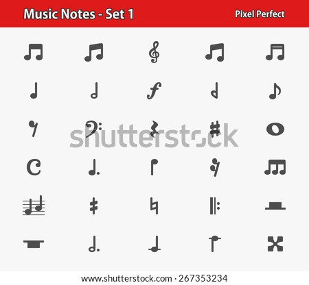 Music Notes Icons. Professional, pixel perfect icons optimized for both large and small resolutions. EPS 8 format. - stock vector