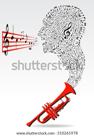 music notes in head shape out of trumpet instrument, conceptual image