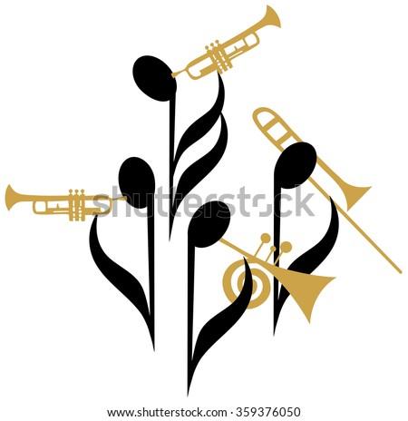 Music notes Jazz quartet  - stock vector