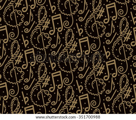 Music Notes / Music Background / Music Vector / Music Icon / Music Wallpaper / Music Record / Music Template / Music Art / Music Texture / Music Retro / Music Abstract / Music Pattern / Dark / Sketch - stock vector