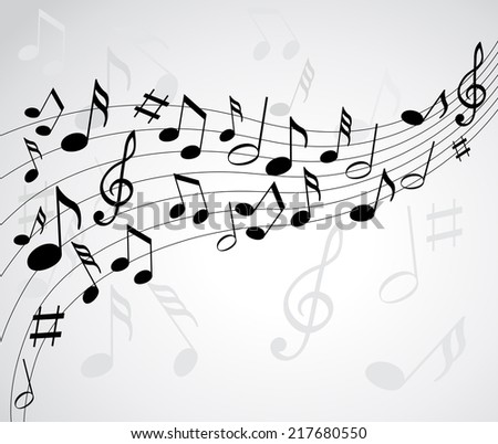 Music notes on a solide white background
