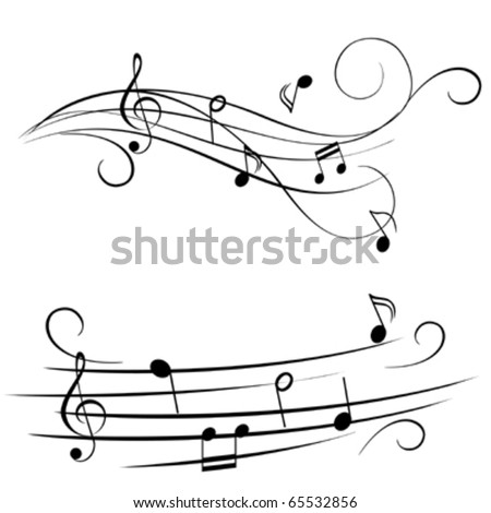Music notes on stave - stock vector