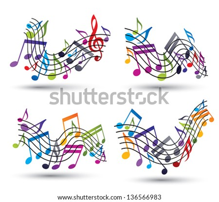 Music notes on staves, set of vector abstract music theme symbols for design.