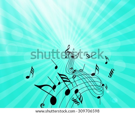 Music Notes Pouring Forth Melodies - stock vector