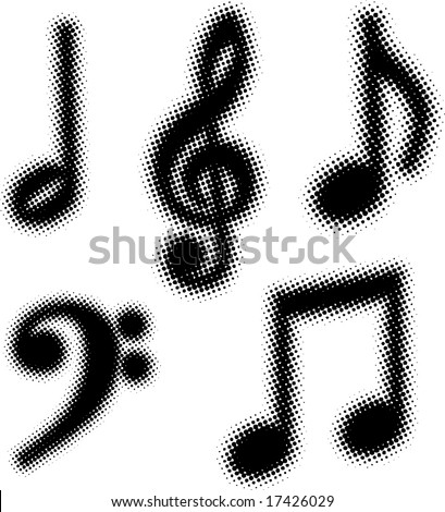 music notes set (dots design series) - stock vector