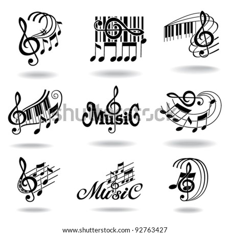 Music notes. Set of music design elements or icons. - stock vector