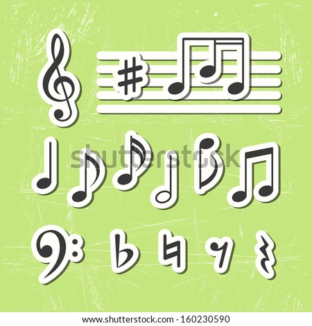 Music notes vector icons - stock vector