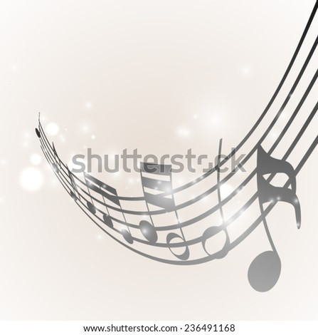music notes wave - stock vector