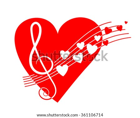 Music notes with big red heart - stock vector
