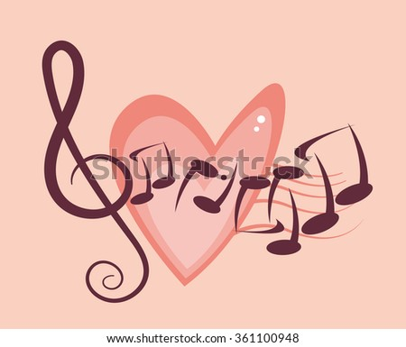 Music notes with heart - stock vector