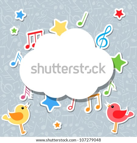 music notes with speech bubble vector - stock vector