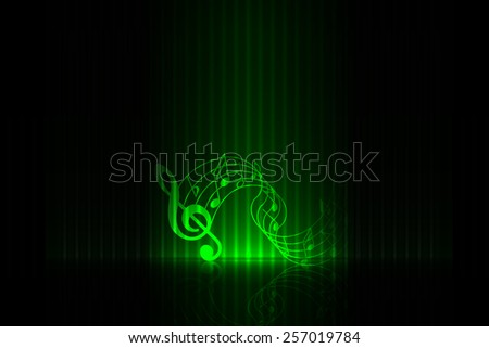 Music om stage - green edition - stock vector