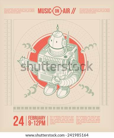 Music-on-air. Music theme poster - stock vector