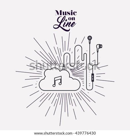 music on line design  - stock vector
