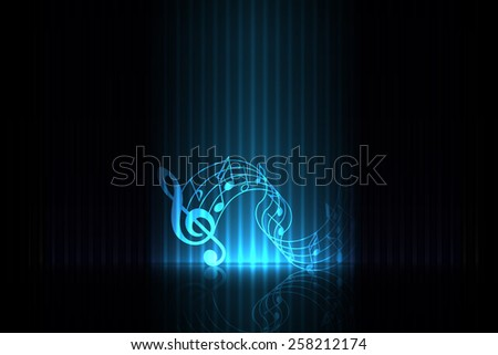 Music on stage - blue edition - stock vector
