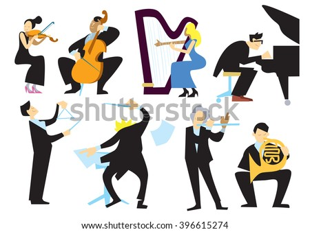 Music orchestra people, isolated on white background. Conductor, trumpet player, pianist, cellist, violinist. Vector musicians. Popular music classical instruments. Musical culture, vector