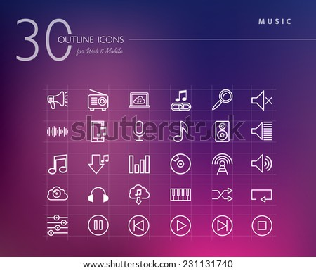 Music outline icons set for web and mobile app. EPS10 vector file organized in layers for easy editing. - stock vector