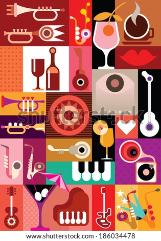 Music Party. Art collage with musical instruments and cocktail glasses. Vector illustration. Graphic design - stock vector