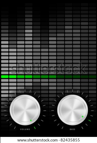 Music Party Background - Amplifier Volume and Bass Knobs and Grey Equalizer on Dark Background - stock vector