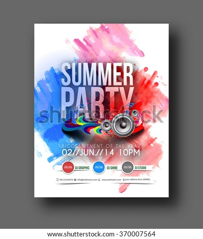 Music party brochure, flyer, magazine cover & poster  - stock vector