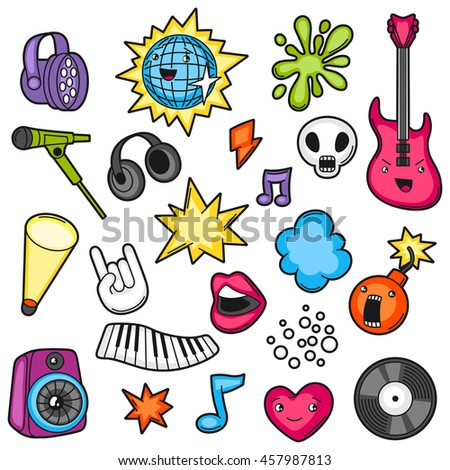 Music party kawaii set. Musical instruments, symbols and objects in cartoon style.